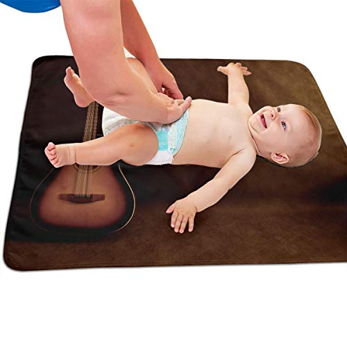 V5DGFJH.B Baby Portable Diaper Changing Pad Acoustic Guitar Urinary Pad Baby Changing Mat 31.5″ x25.5""
