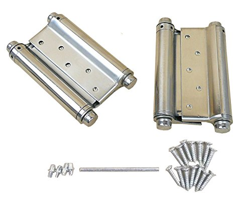 A Pair 5'' Adjustable Double Action Spring Hinge Saloon Cafe Swing Door with Screws