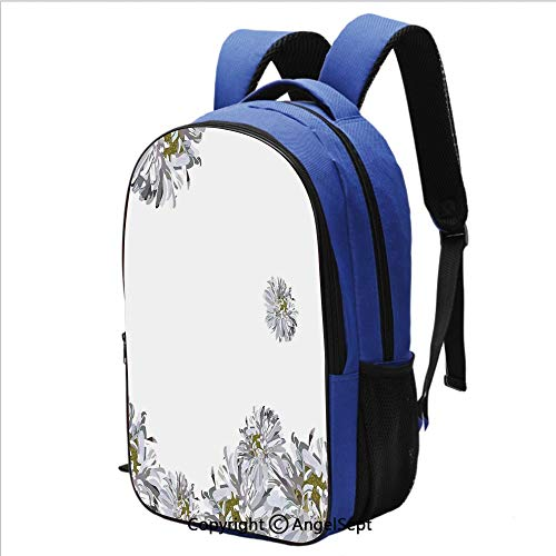 School Backpack for Women Men Flourishing Summer Fusion Poppy Chamomile Purity Icons of Habitat Art for School and Travel,Grey Mustard