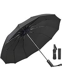 Umbrella,JUKSTG 12 Ribs Auto Open/Close Windproof Umbrellas, Waterproof Travel Umbrella,Portable Umbrellas With Ergonomic Handle,Black