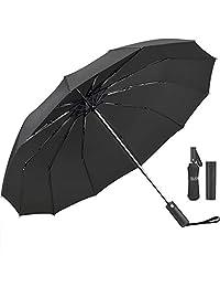 Umbrella,JUKSTG 12 Ribs Auto Open/Close Windproof Umbrella, Waterproof Travel Umbrella,Portable Umbrellas with Ergonomic Handle,Black