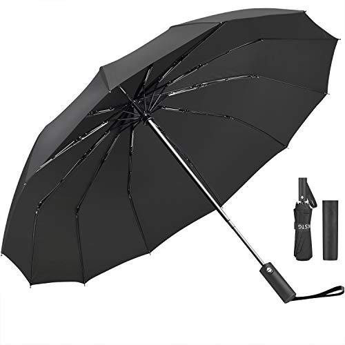 Umbrella,JUKSTG 12 Ribs Auto Open/Close Windproof Umbrellas, Waterproof Travel Umbrella,Portable Umbrellas With…