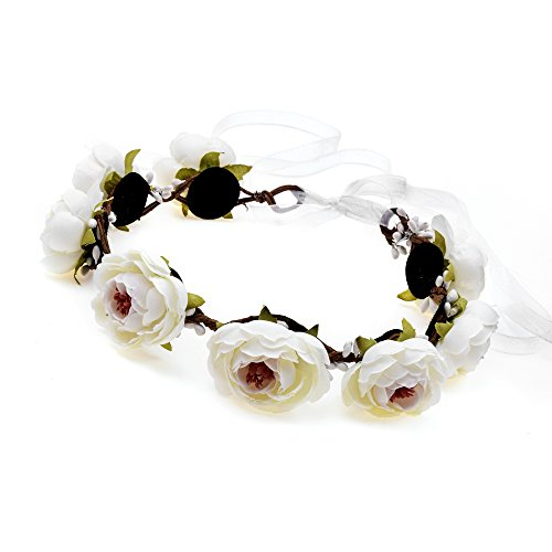 DreamLily Camellia Woodland Flower Crown Victorian Floral Wreath Headpiece Halo BC31 (Ivory)