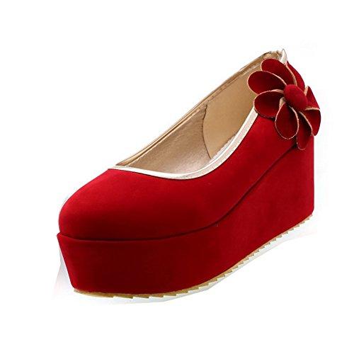 BalaMasa Stivali di gomma con tacco alto solido pompe scarpe, Rosso (Red), 38