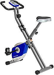 SONGMICS Exercise Bike, Foldable Indoor Cycling Bike for Fitness Workout, Phone Holder, 220 lb Max. Weight