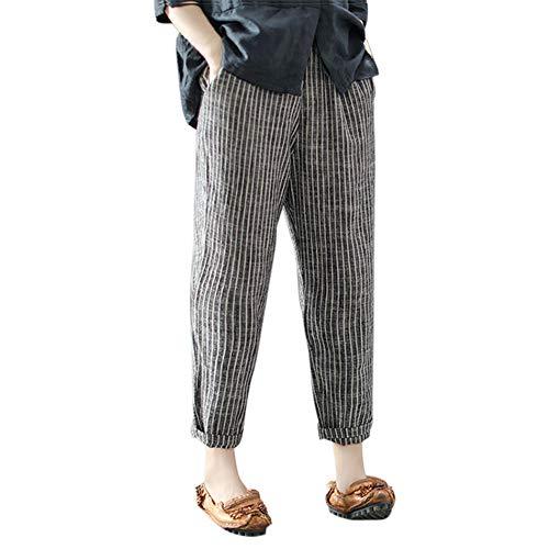 Striped Wide Leg Pants Women Casual Plus Size Cotton Linen Ankle-Length Trousers