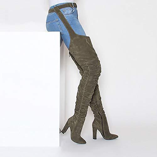 Bout Plissée 38 Le Cuisse Pour Sexy Genou Armée Chaussures Taille Bottes Femmes Daim Pointu Vert Talons Longue En Noir Style Sur Rihanna Hauts Raqx87E