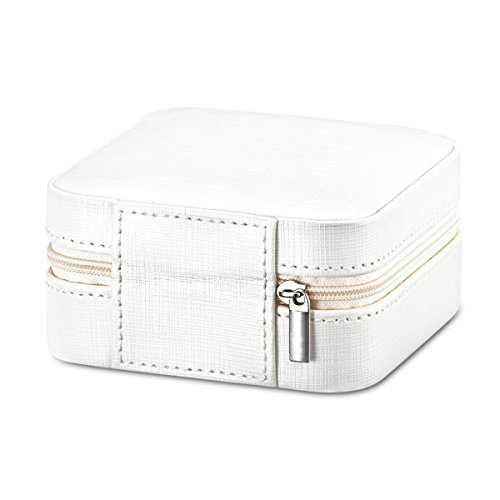 Vlando Small Travel Jewelry Box Organizer - Faux Leather Storage Case Rings Earrings Necklace - Best Gifts Choice Girls Women (Pearl White) by Vlando (Image #5)