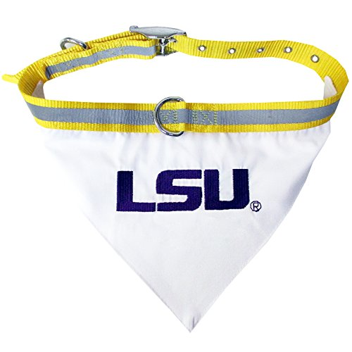 NCAA BANDANA - LOUISIANA STATE UNIVERSITY TIGERS DOG BANDANA with Reflective & Adjustable DOG COLLAR, Large