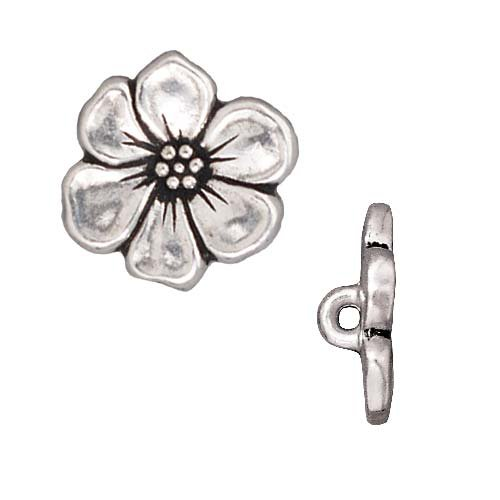 TierraCast Antiqued Silver Plated Lead-Free Pewter Apple Blossom Buttons 15.5mm (2) ()