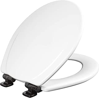product image for MAYFAIR 30ORSL 000 Marion Toilet Seat with Oil-Rubbed Bronze Hinges will Slow Close and Never Come Loose, ROUND, Durable Enameled Wood, White