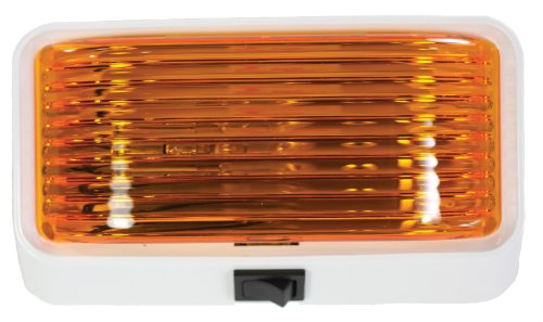 Arcon 18111 12V Universal Porch/Utility Light with Amber Lens, White Base with Switch