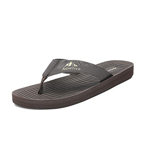 NORTIV 8 Men's 181112M Brown Flip Flops Sandals Thong Summer Beach Sandal Size 8 M US (Best Male Flip Flops)