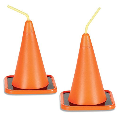 Construction Childrens Birthday Party Supplies - Orange Construction Cone Plastic Sippy Cup with Straw (Cars Theme Party Supplies)