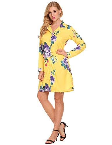 ELESOL Women Vintage Floral Printed Long Length Button Down Nightshirt Pattern1 XL