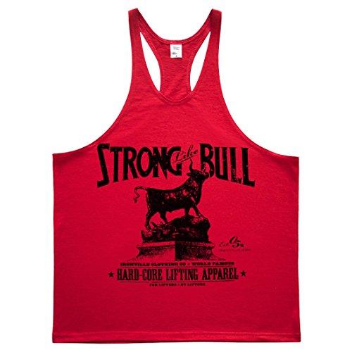 Ironville Strong Like Bull Powerlifting Stringer Tank Top red M