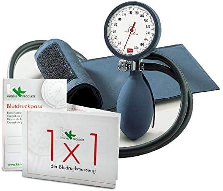boso clinicus II mit Klettenmanschette Ø 60 mm | inkl. KK Blutdruckpass + 1 x 1 der Blutdruckmessung (Blau)