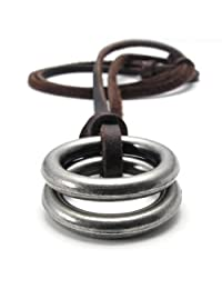 Konov Jewelry Unisex Mens Vintage Style Double Ring Pendant Adjustable Genuine Leather Necklace Chain, Brown Silver, with Gift Bag, C21853