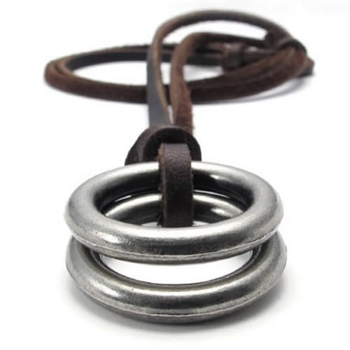 KONOV Vintage Style Alloy Double Ring Pendant Adjustable Leather Cord Mens Necklace Chain - Men Leather Necklaces Pendants