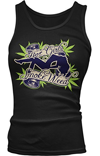 Amdesco Junior's Hot GIRLS Smoke Weed, Marijuana Pot Smoker Tank Top, Black 2XL