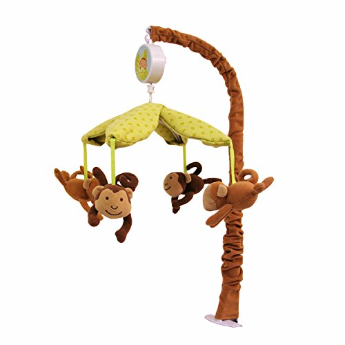 Nurture Imagination Swing Monkeys Nursery Musical Crib Mobile, Jungle Safari Animals