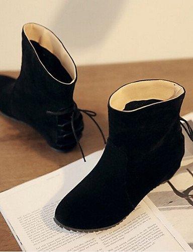 Bout 5 Noir Xzz Eu38 Polyester Décontracté Arrondi Black Femme Chaussures Rose 5 us7 Bottes Talon Cn38 Plat Uk5 Gris xxpqAfw
