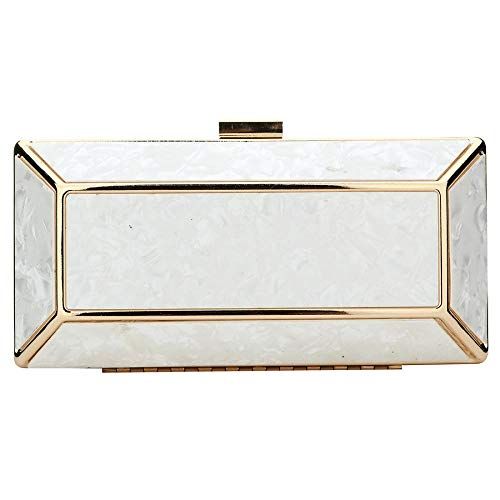 bag Women Shoulder Wedding Handbag Acrylic Evening Clutch Clutches Party White qXnx5BU