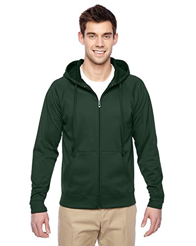 Jerzees PF93 Adult Sport Tech Fleece Full-Zip Hooded Sweatshirt - Forest Green, Extra Large