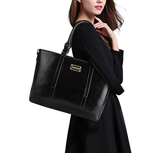 ZMSnow Laptop Bag,Elegant Tote Bag Fits up to 15.6 Inch Laptop for Women Work Business School Travel (Black)