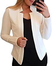 Mstyle Womens Fall-Winter Casual Open-Front Solid Color Slim Fit Blazer Blazer Jacket Suit Coat