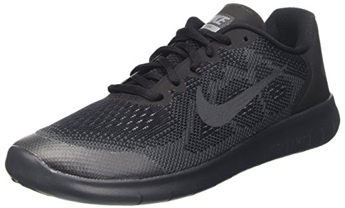 NIKE Kids Free RN 2017 (GS) Shoes Black Anthracite Dark Grey Cool Grey Size 5