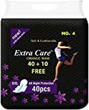HRV Extra Care Womens/Girls XXL Sanitary Pads (Napkins) with Wings - Pack of 50 (40+10 free) (XXL, Pink Maxi)