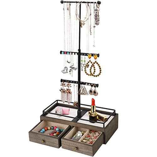 Keebofly Jewelry Organizer Metal & Wood Basic Storage Box - 3 Tier Jewelry Stand for Necklaces Bracelet Earrings Ring Carbonized Black and Weathered Grey