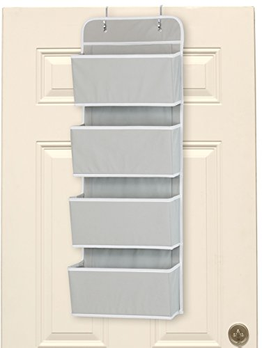 Cheap  Simple Houseware 4 Pocket Over The Door Wall Mount Hanging Organizer, Grey