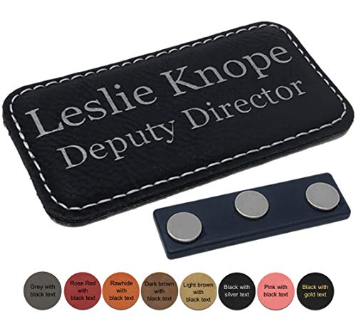 (Leatherette Business Name Tag/ID Badge Personalized - Laser Engraved, Magnetic Back - Customize (Pink w/Black Engraving))