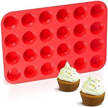 Silicone Muffin Pan Mini 24 Cups Cupcake Pan, Nonstick BPA Free Silicone Baking Pan 1 Pack