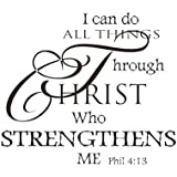 Soledi Wall Decal I Can Do All Things Through Christ Who Strengthens Me Wall Decal Quotes Vinyl Wall Sticker Mural Art Wall Decor Bedroom Living Room, Black