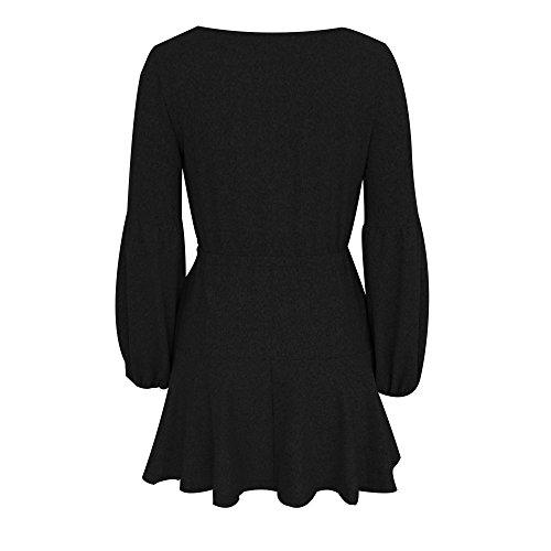Plisada Vestido 2018 Manera Elegante Camisola Casual Falda Verano Manga Suelto En Larga Vestidos Ansenesna Cuello Mini V Vendaje Negro con Mujer ZUqTTA