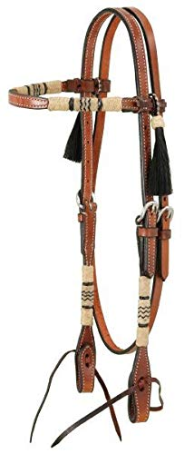 Royal King Browband Headstall with Braided Rawhide and Horsehair Tassels