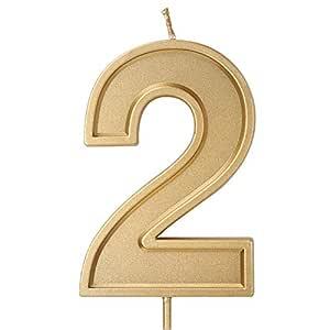 LUTER 3.94 Pulgadas Velas de cumpleaños de Gran tamaño Pastel de cumpleaños con Purpurina Dorada Velas Número Velas Decoración de la Torta para la ...