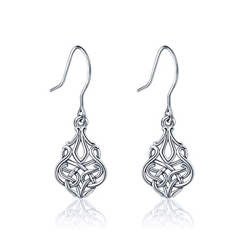 INFUSEU Sterling Silver Celtic Infinity Eternity Knot Dangle Earrings, Women Talisman Drop Hook Earrings