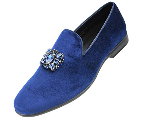 (Amali Men's Faux Velvet Slip on Loafer with Jeweled Bit and Matching Piping Dress Shoe, Style Tiago Navy)