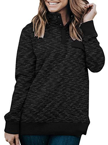 - LAICIGO Womens Warm Button Collar Pullover Coat Casual Loose Sweatshirt Outwear with Pockets Black