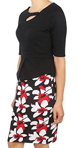 Minetom Mujeres Falsos Dos Piezas Manga Corta Y Larga Flaca Delgada Patrón Floral Falda Lápiz Hoja Del Loto Cintura Vestido Negro02