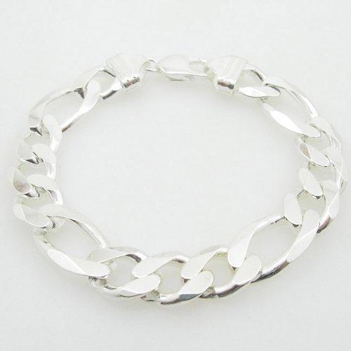 icedtime pour homme en argent sterling 925Bracelet maille figaro Franco Cuba Miami Corde Charme Fancy Figaro Link Bracelet