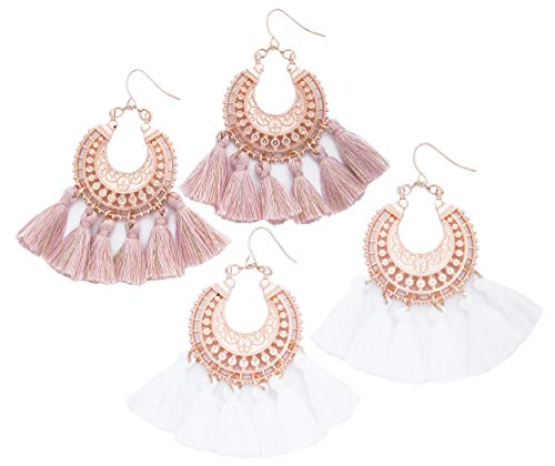 Rose Gold Pink Statement fringe fashion: tassel earrings gifts for women. Aretes de mujer drop dangle tassle summer hot earring by Blush & Co. Gift idea for birthday, wedding, friend (Blush and White) by Blush & Co.