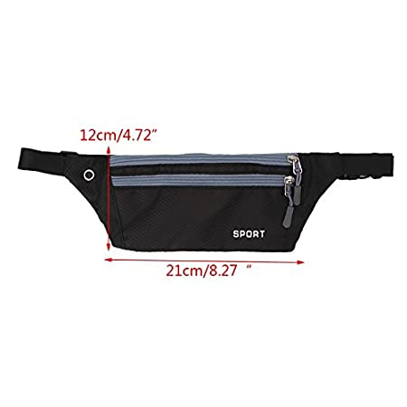JAGENIE Sport Hiking Running Adjustable Belt Waist Pouch Fanny Pack Camping Zip Bag,Dark Blue