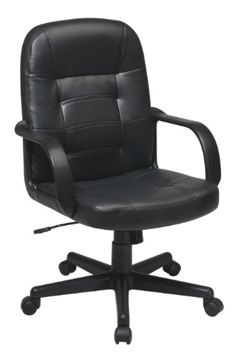 Office Star Mid Back Padded Seat and Back Eco Leather Adjustable Managers Office Chair by Office Star
