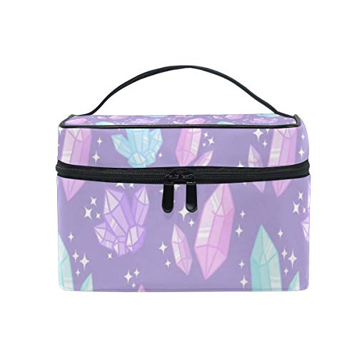 Magical Crystals Cosmetic Bags Organizer- Travel Makeup Pouch Ladies Toiletry Train Case for Women Girls, CoTime Black Zipper and Flat Bottom