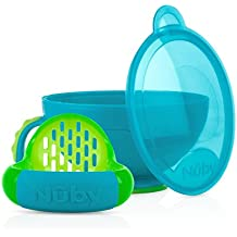 Nuby Garden Fresh Mash N' Feed Bowl with Spoon and Food Masher, Teal/Green